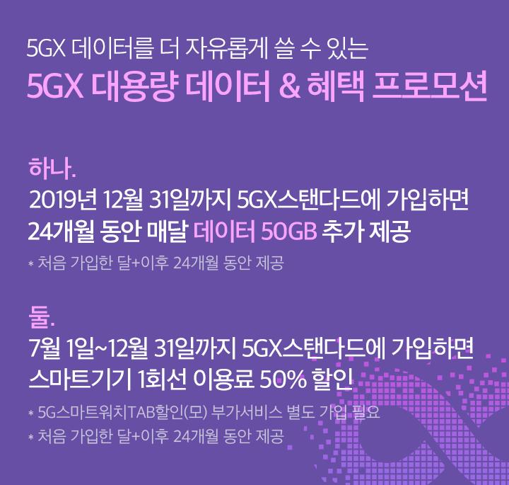5GX 데이터를 더 자유롭게 쓸 수 있는 5GX 대용량 데이터 & 혜택 프로모션 하나. 2019년 12월 31일까지 5GX 스탠다드에 가입하면 24개월 동안 매달 데이터 50GB 추가 제공 * 처음 가입한 달+이후 24개월 동안 제공 둘. 7월 1일~12월 31일까지 5GX스탠다드에 가입하면 스마트기기 1회선 이용료 50% 할인 * 5G스마트워치TAB할인(모) 부가서비스 별도 가입 필요 * 처음 가입한 달 + 이후 24개월 동안 제공