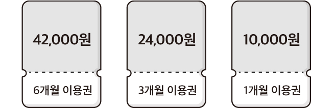 6개원 이용권 42000원, 3개월 이용권 24000원, 1개월 이용권 10000원